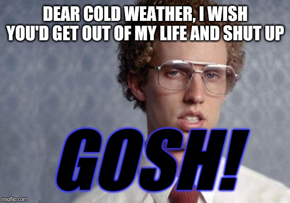Sometimes I wish the cold weather never exsited | DEAR COLD WEATHER, I WISH YOU'D GET OUT OF MY LIFE AND SHUT UP GOSH! | image tagged in napoleon dynamite,memes,funny memes,dank memes | made w/ Imgflip meme maker