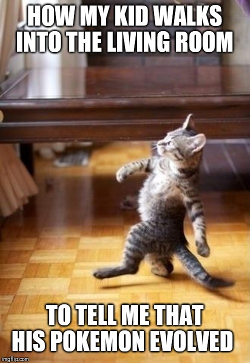 Cool Cat Stroll |  HOW MY KID WALKS INTO THE LIVING ROOM; TO TELL ME THAT HIS POKEMON EVOLVED | image tagged in memes,cool cat stroll | made w/ Imgflip meme maker