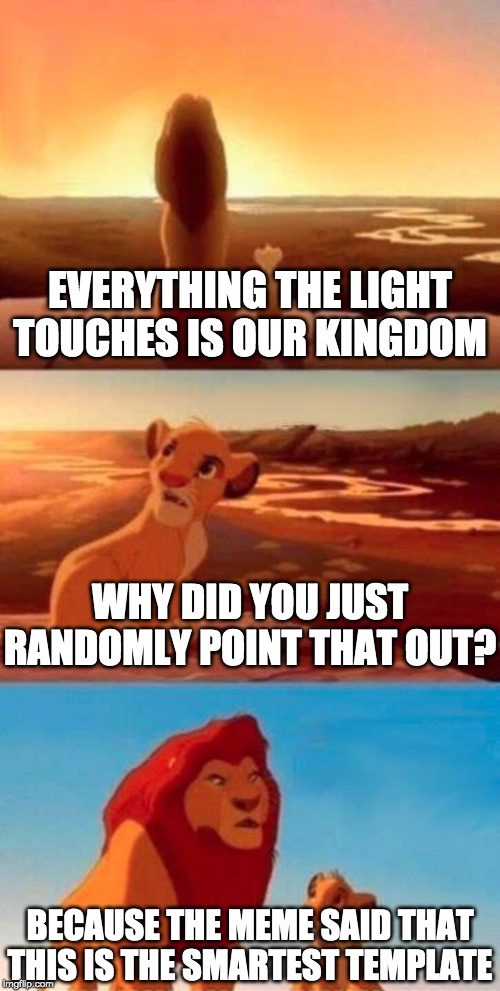 Lion King | EVERYTHING THE LIGHT TOUCHES IS OUR KINGDOM WHY DID YOU JUST RANDOMLY POINT THAT OUT? BECAUSE THE MEME SAID THAT THIS IS THE SMARTEST TEMPLA | image tagged in lion king | made w/ Imgflip meme maker
