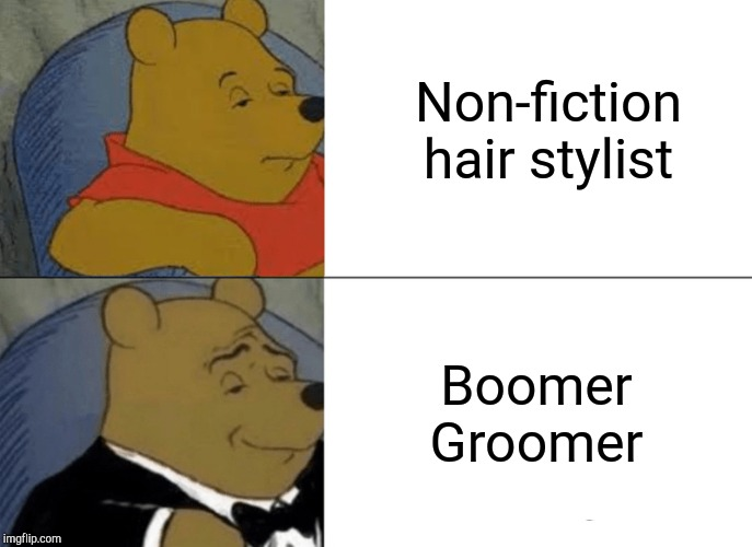 Tuxedo Winnie The Pooh |  Non-fiction hair stylist; Boomer Groomer | image tagged in memes,tuxedo winnie the pooh | made w/ Imgflip meme maker
