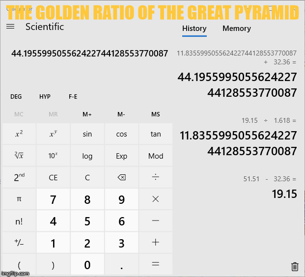 THE GOLDEN RATIO OF THE GREAT PYRAMID | made w/ Imgflip meme maker