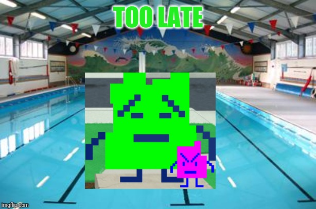 Swimming Pool | TOO LATE | image tagged in swimming pool | made w/ Imgflip meme maker
