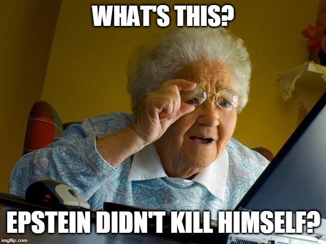 Grandma Knows |  WHAT'S THIS? EPSTEIN DIDN'T KILL HIMSELF? | image tagged in grandma finds the internet,jeffrey epstein,epstein,abc,fbi,doj | made w/ Imgflip meme maker