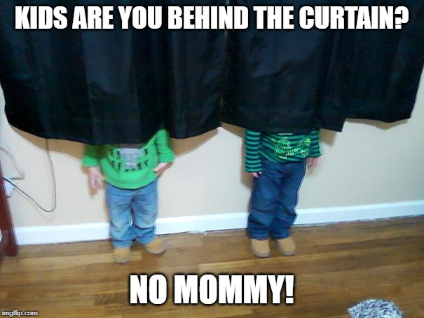 hide and seek | KIDS ARE YOU BEHIND THE CURTAIN? NO MOMMY! | image tagged in hide and seek | made w/ Imgflip meme maker