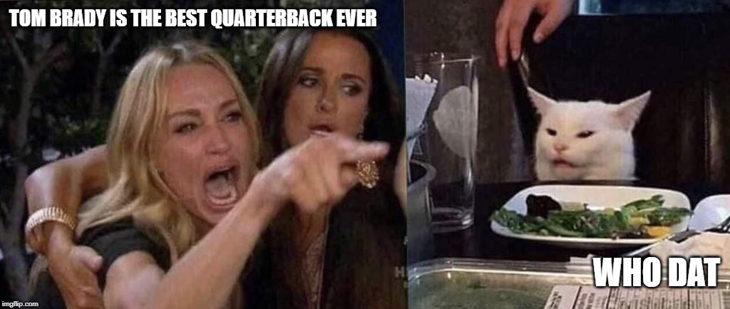 woman yelling at cat | TOM BRADY IS THE BEST QUARTERBACK EVER WHO DAT | image tagged in woman yelling at cat | made w/ Imgflip meme maker