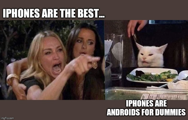 woman yelling at cat | IPHONES ARE THE BEST... IPHONES ARE ANDROIDS FOR DUMMIES | image tagged in woman yelling at cat | made w/ Imgflip meme maker