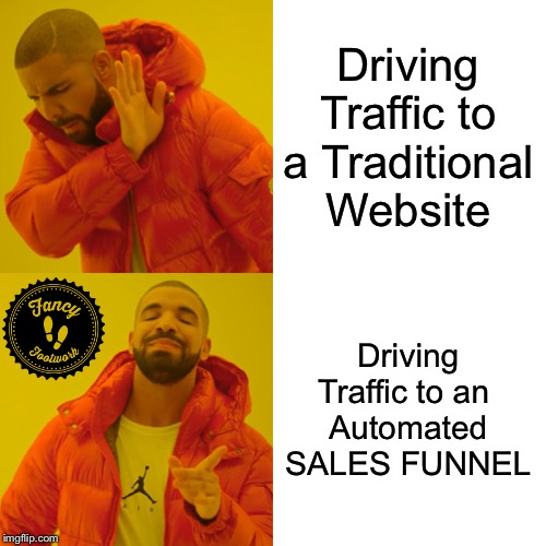 Drake Hotline Bling Meme | Driving Traffic to a Traditional Website Driving Traffic to an Automated SALES FUNNEL | image tagged in memes,drake hotline bling | made w/ Imgflip meme maker
