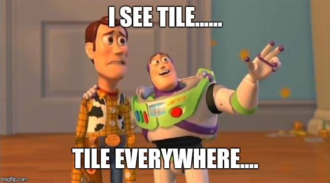 Buzz And Woody | I SEE TILE...... TILE EVERYWHERE.... | image tagged in buzz and woody | made w/ Imgflip meme maker