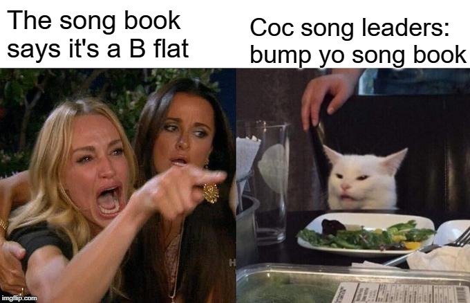 Woman Yelling At Cat Meme | The song book says it's a B flat Coc song leaders:  bump yo song book | image tagged in memes,woman yelling at cat | made w/ Imgflip meme maker
