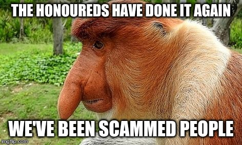 THE HONOUREDS HAVE DONE IT AGAIN WE'VE BEEN SCAMMED PEOPLE | image tagged in the honoureds | made w/ Imgflip meme maker