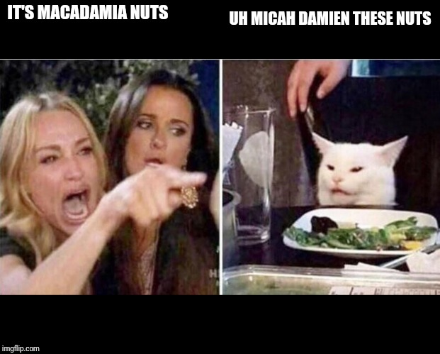 Crying girls and Cat | IT'S MACADAMIA NUTS UH MICAH DAMIEN THESE NUTS | image tagged in crying girls and cat | made w/ Imgflip meme maker
