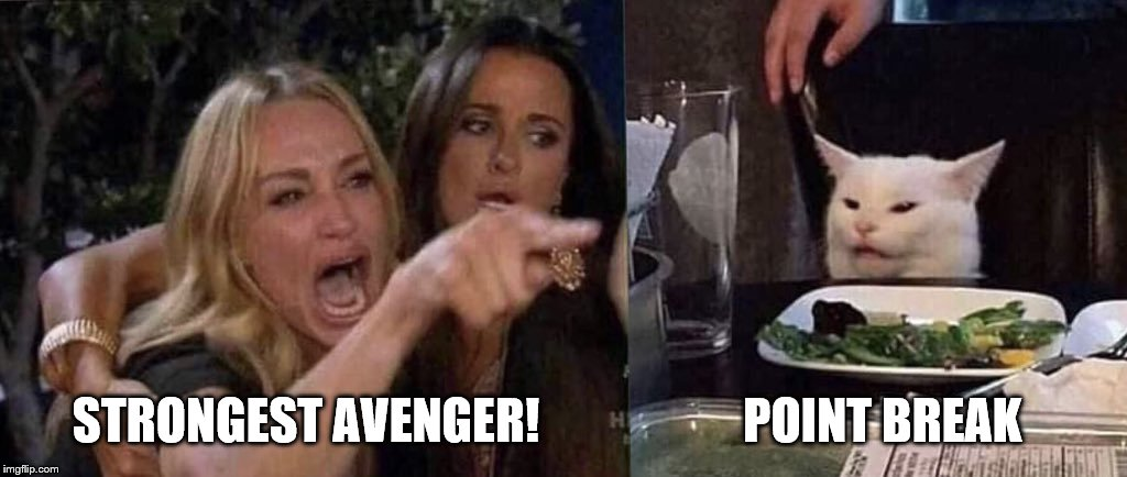 woman yelling at cat | STRONGEST AVENGER!                     POINT BREAK | made w/ Imgflip meme maker