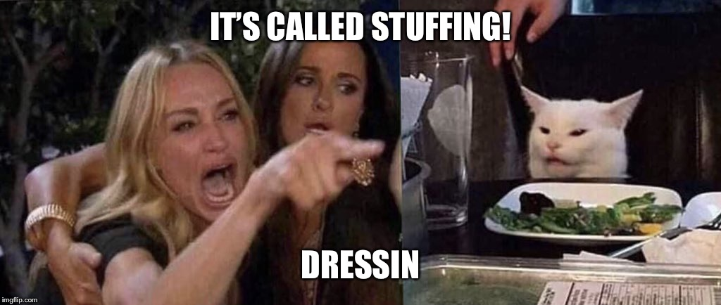 woman yelling at cat | IT'S CALLED STUFFING! DRESSIN | image tagged in woman yelling at cat | made w/ Imgflip meme maker