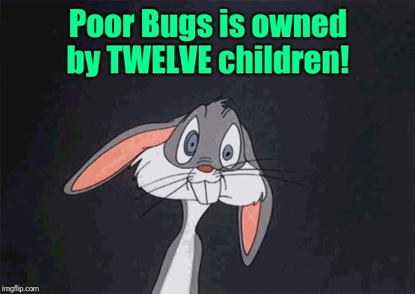 bugs bunny crazy face | Poor Bugs is owned by TWELVE children! | image tagged in bugs bunny crazy face | made w/ Imgflip meme maker