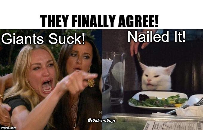 Giants suck | Giants Suck! Nailed It! #WeDemBoys THEY FINALLY AGREE! | image tagged in memes,woman yelling at cat,giants suck,dallas cowboys | made w/ Imgflip meme maker