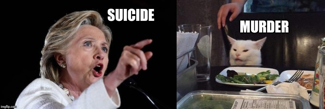 Smudge better watch out... | SUICIDE MURDER | image tagged in salad cat,hillary clinton,jeffrey epstein,pedophile,trump,justice | made w/ Imgflip meme maker