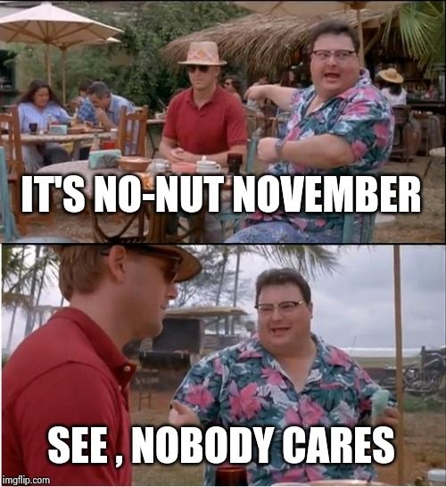 20 more days of this silliness | IT'S NO-NUT NOVEMBER SEE , NOBODY CARES | image tagged in memes,see nobody cares,no nut november,wow look nothing,stop it get some help,nuts | made w/ Imgflip meme maker