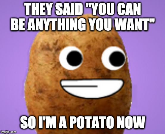 "Happy Potater |  THEY SAID ""YOU CAN BE ANYTHING YOU WANT""; SO I'M A POTATO NOW 