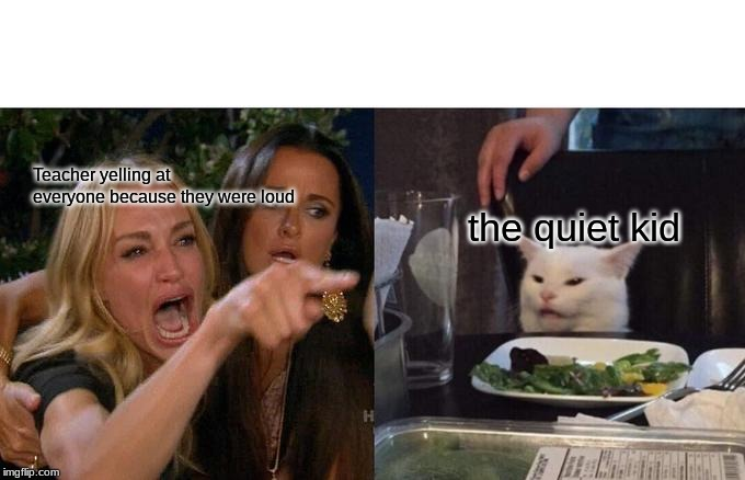 Woman Yelling At Cat | Teacher yelling at everyone because they were loud the quiet kid | image tagged in memes,woman yelling at cat | made w/ Imgflip meme maker