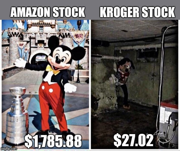 When you show improvement, but the competition... |  $1,785.88; $27.02 | image tagged in amazon,stocks,shopping,mickey mouse,money | made w/ Imgflip meme maker