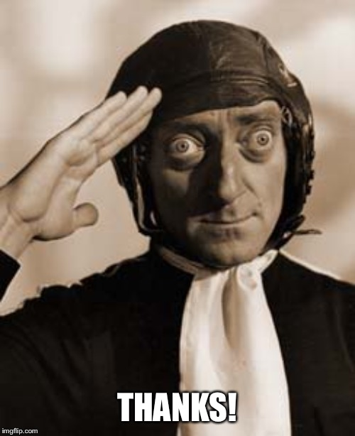 Marty Feldman copy that! | THANKS! | image tagged in marty feldman copy that | made w/ Imgflip meme maker