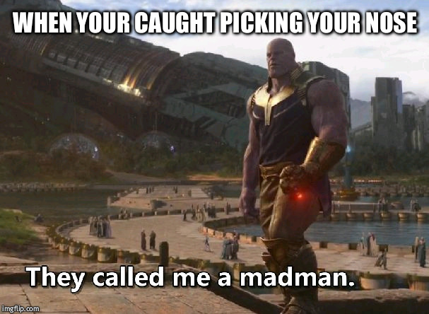 Thanos they called me a madman |  WHEN YOUR CAUGHT PICKING YOUR NOSE | image tagged in thanos they called me a madman | made w/ Imgflip meme maker