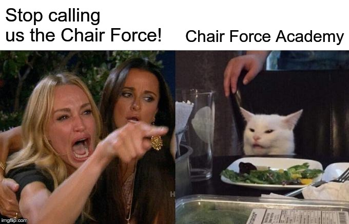 Woman Yelling At Cat | Stop calling us the Chair Force! Chair Force Academy | image tagged in memes,woman yelling at cat | made w/ Imgflip meme maker
