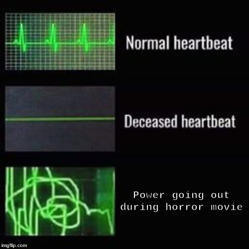 heartbeat rate |  Power going out during horror movie | image tagged in heartbeat rate | made w/ Imgflip meme maker