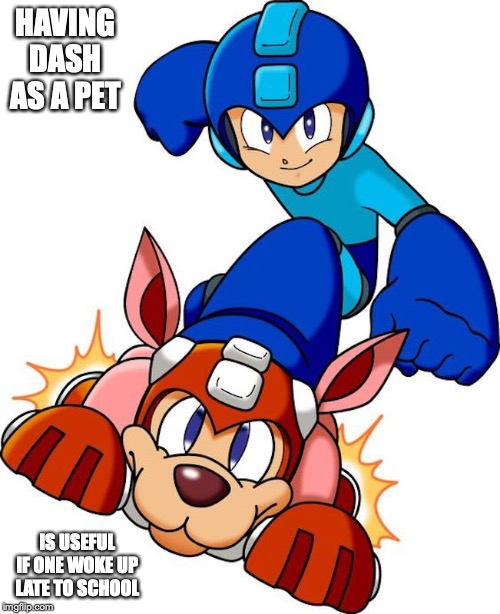 Megaman Riding on Dash | HAVING DASH AS A PET IS USEFUL IF ONE WOKE UP LATE TO SCHOOL | image tagged in megaman,dash,memes | made w/ Imgflip meme maker