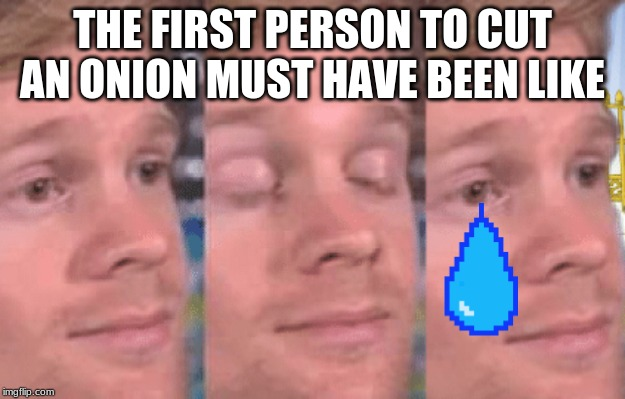 The first person to |  THE FIRST PERSON TO CUT AN ONION MUST HAVE BEEN LIKE | image tagged in the first person to | made w/ Imgflip meme maker