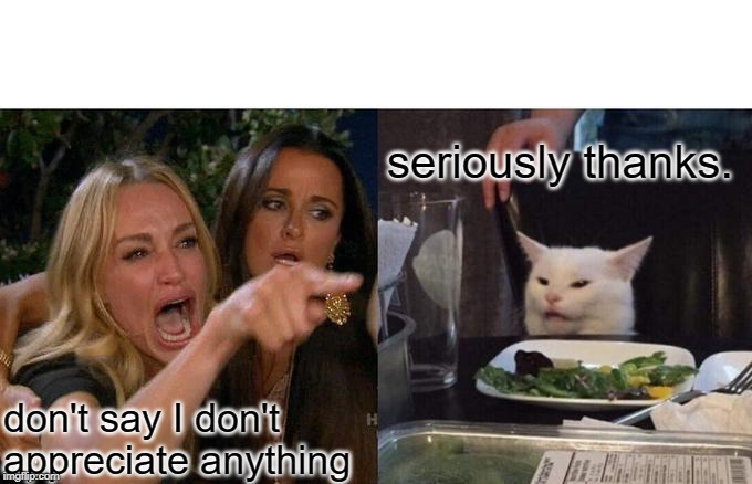 don't say I don't appreciate anything seriously thanks. | image tagged in memes,woman yelling at cat | made w/ Imgflip meme maker
