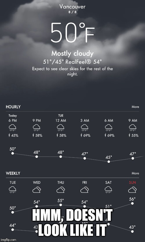 Yeah right | HMM, DOESN'T LOOK LIKE IT | image tagged in weather,vancouver | made w/ Imgflip meme maker
