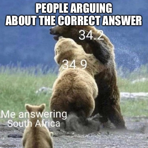 The typical Math test |  PEOPLE ARGUING ABOUT THE CORRECT ANSWER | image tagged in bear,math | made w/ Imgflip meme maker
