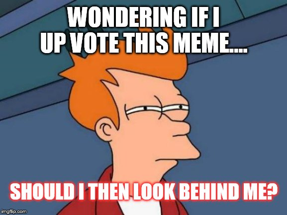 WONDERING IF I UP VOTE THIS MEME.... SHOULD I THEN LOOK BEHIND ME? | image tagged in memes,futurama fry | made w/ Imgflip meme maker