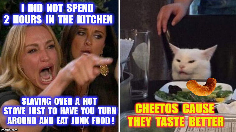I  DID  NOT  SPEND  2  HOURS  IN  THE  KITCHEN SLAVING  OVER  A  HOT  STOVE  JUST  TO  HAVE  YOU  TURN  AROUND  AND  EAT  JUNK  FOOD ! CHEET | made w/ Imgflip meme maker