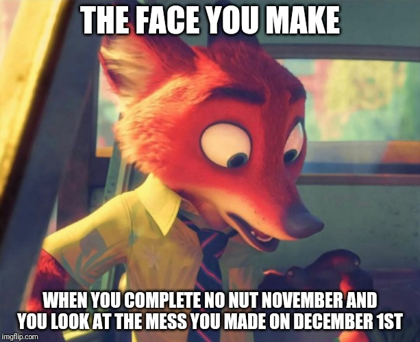 No Nut November - Zootopia edition |  THE FACE YOU MAKE; WHEN YOU COMPLETE NO NUT NOVEMBER AND YOU LOOK AT THE MESS YOU MADE ON DECEMBER 1ST | image tagged in nick wilde looking down,zootopia,nick wilde,no nut november,funny,memes | made w/ Imgflip meme maker