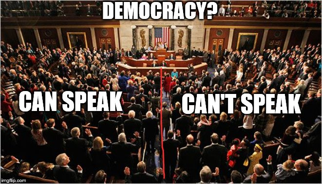 Partisan Coup |  DEMOCRACY? CAN'T SPEAK; CAN SPEAK | image tagged in congress,memes,politics | made w/ Imgflip meme maker