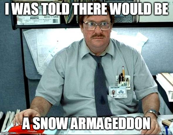 I Was Told There Would Be |  I WAS TOLD THERE WOULD BE; A SNOW ARMAGEDDON | image tagged in memes,i was told there would be | made w/ Imgflip meme maker