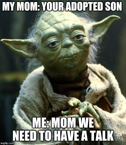 Star Wars Yoda Meme |  MY MOM: YOUR ADOPTED SON; ME: MOM WE NEED TO HAVE A TALK | image tagged in memes,star wars yoda | made w/ Imgflip meme maker