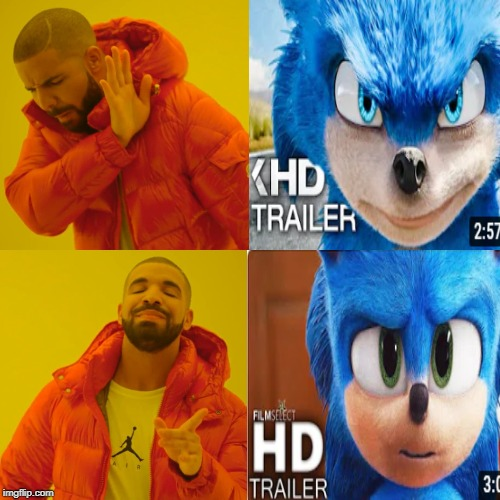 Drake Sonic Movie | image tagged in memes,drake hotline bling,funny,sonic,sonic movie | made w/ Imgflip meme maker
