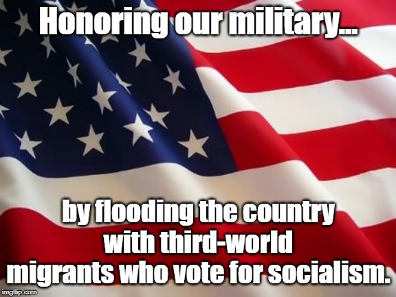 No longer free, because we're no longer brave. | Honoring our military... by flooding the country with third-world migrants who vote for socialism. | image tagged in american flag,third world,communist socialist,white genocide,traitors | made w/ Imgflip meme maker