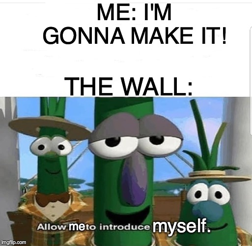 Allow us to introduce ourselves | ME: I'M GONNA MAKE IT! THE WALL: me myself. | image tagged in allow us to introduce ourselves | made w/ Imgflip meme maker