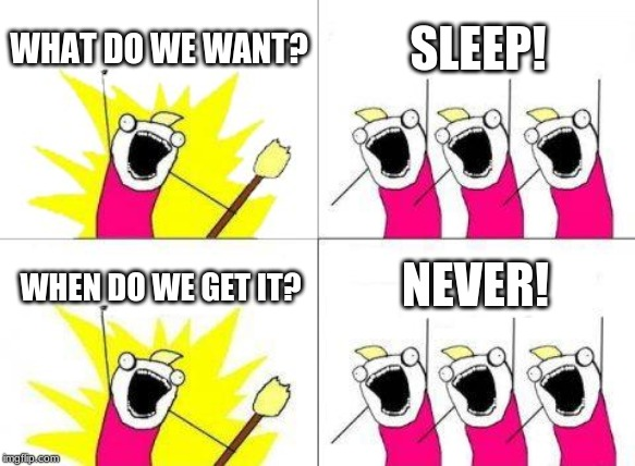 What Do We Want Meme | WHAT DO WE WANT? SLEEP! WHEN DO WE GET IT? NEVER! | image tagged in memes,what do we want | made w/ Imgflip meme maker
