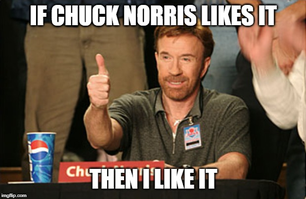 Chuck Norris Approves |  IF CHUCK NORRIS LIKES IT; THEN I LIKE IT | image tagged in memes,chuck norris approves,chuck norris | made w/ Imgflip meme maker
