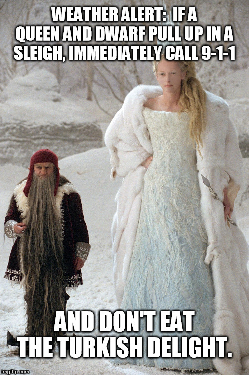 Weather Alert | WEATHER ALERT:  IF A QUEEN AND DWARF PULL UP IN A SLEIGH, IMMEDIATELY CALL 9-1-1 AND DON'T EAT THE TURKISH DELIGHT. | image tagged in cold weather,winter is here,narnia,weather | made w/ Imgflip meme maker