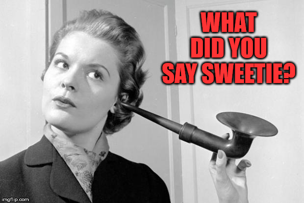 hearing aid | WHAT DID YOU SAY SWEETIE? | image tagged in hearing aid | made w/ Imgflip meme maker