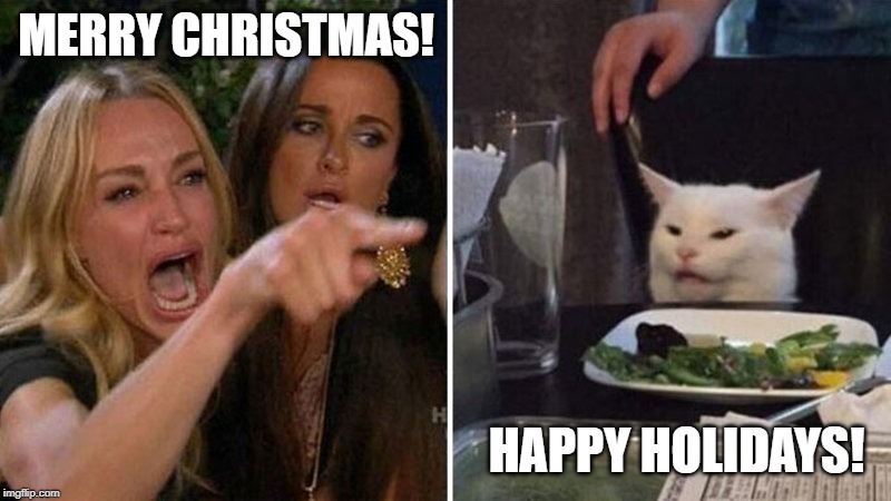 Happy Holidays! | MERRY CHRISTMAS! HAPPY HOLIDAYS! | image tagged in merry christmas,happy holidays,politically correct,cat meme | made w/ Imgflip meme maker