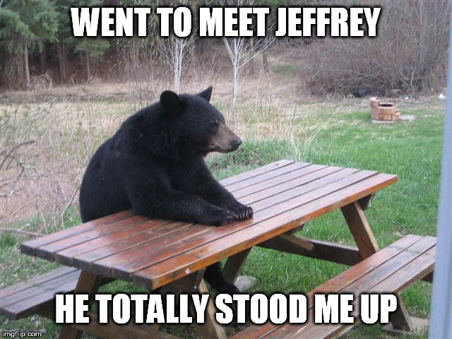 Patient Bear | WENT TO MEET JEFFREY HE TOTALLY STOOD ME UP | image tagged in patient bear | made w/ Imgflip meme maker