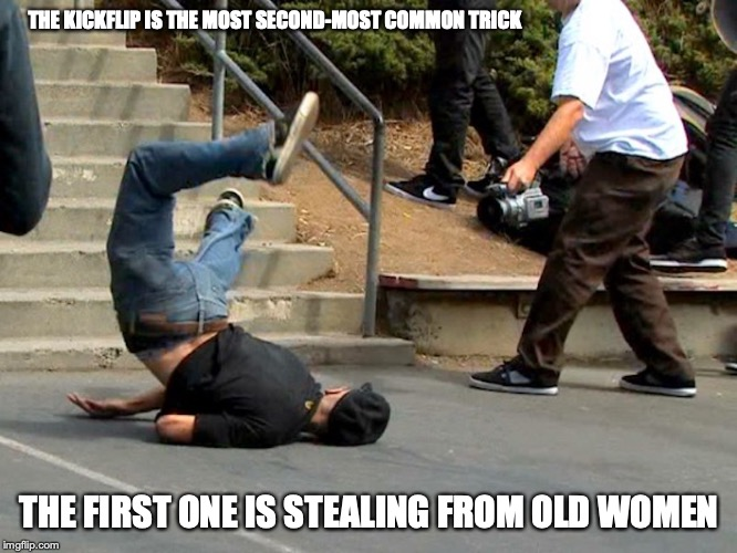 Kickflip Fail | THE KICKFLIP IS THE MOST SECOND-MOST COMMON TRICK THE FIRST ONE IS STEALING FROM OLD WOMEN | image tagged in skateboard,fail,memes | made w/ Imgflip meme maker