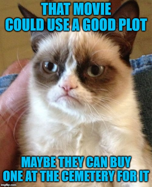 Bad Movie Graveyard | THAT MOVIE COULD USE A GOOD PLOT MAYBE THEY CAN BUY ONE AT THE CEMETERY FOR IT | image tagged in memes,grumpy cat,funny memes,movies,cemetery,rip | made w/ Imgflip meme maker
